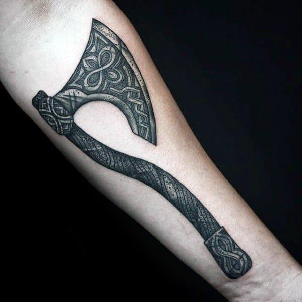 Inner Forearm Mens Cool Axe Tattoo Ideas
