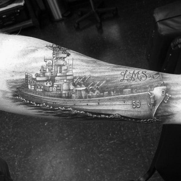 Inner Forearm Mens Cool Battleship Tattoo Ideas