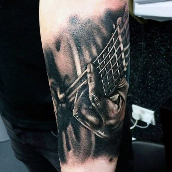 Inner Forearm Mens Music Strumming Guitar Tattoos Designs