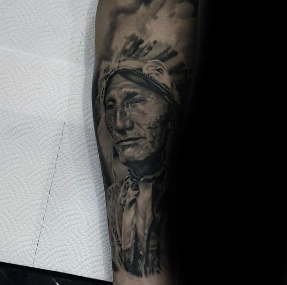 Inner Forearm Mens Native American Indian Tattoos
