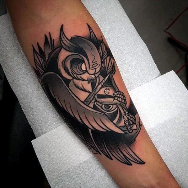 Inner Forearm Mens Neo Traditional Owl With All Seeing Eye Tattoo