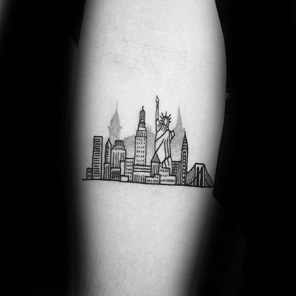Inner Forearm Mens New York Skyline Tattoo Design Ideas