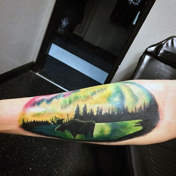 Inner Forearm Mens Northern Lights Moose Tattoos