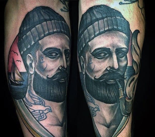 Inner Forearm Mens Sailor Tattoos Designs