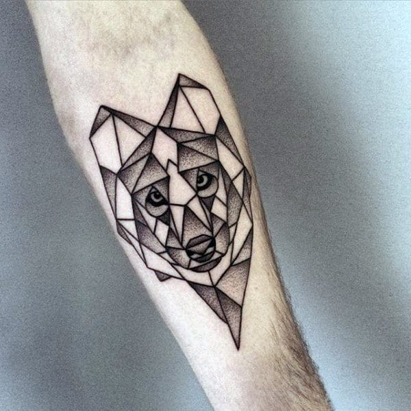 Inner Forearm Mens Shaded Dotwork Geometric Wolf Tattoo Inspiration