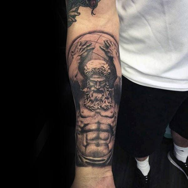 Inner Forearm Mens Sleeve Tattoo Of Atlas Holding Globe
