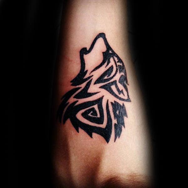 Inner Forearm Mens Tribal Wolf Tattoos