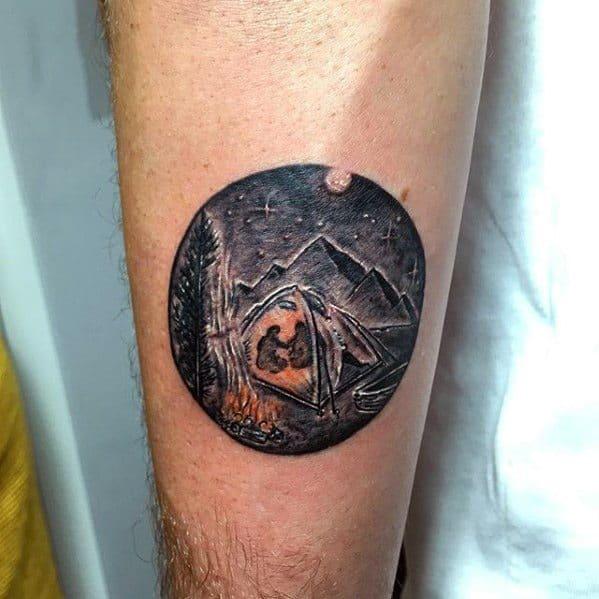 Inner Forearm Mini Tent Guys Tattoo Ideas