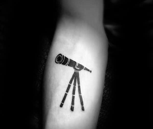 Inner Forearm Minimalistic Telescope Male Tattoo Designs