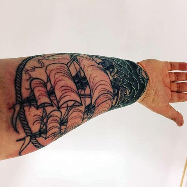 Inner Forearm Nautical Waves And Ship Tattoo Ideas For Guys