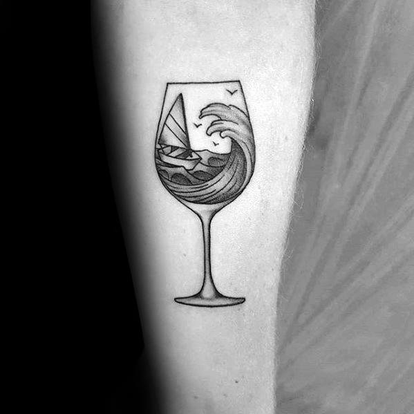 Inner Forearm Ocean Wave Sailboat Wine Tattoos For Gentlemen
