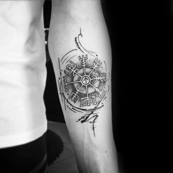 Inner Forearm Paint Brush Stroke Viking Compass Mens Tattoos