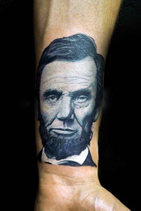 Inner Forearm Portrait Abraham Lincoln Guys Tattoos