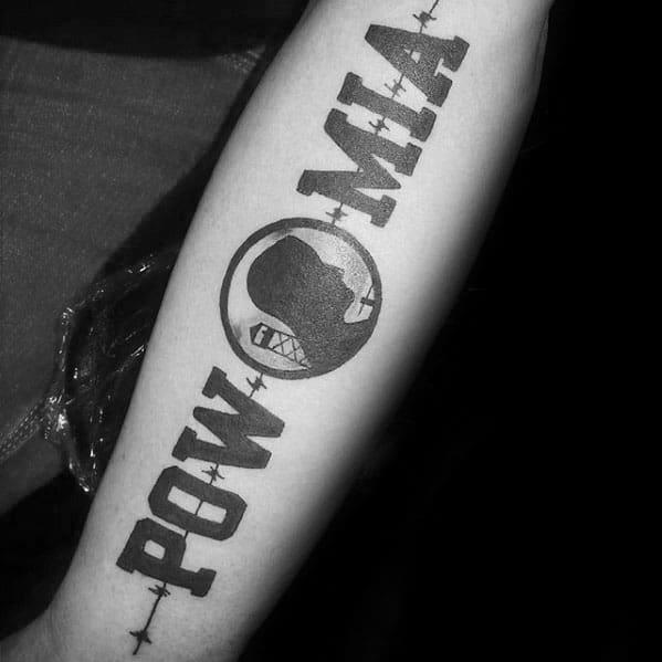 Inner Forearm Pow Mia Mens Tattoo Ideas