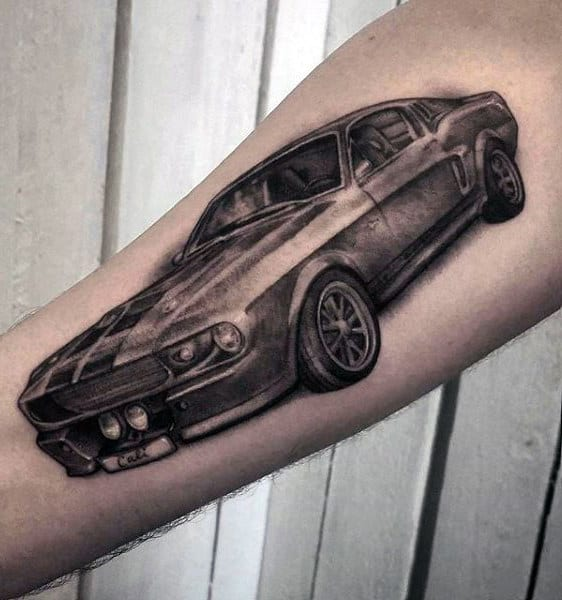 Inner Forearm Racing Mustang Guys Shaded Tattoos