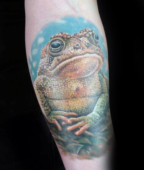 Inner Forearm Realistic 3d Male Toad Tattoo Ideas