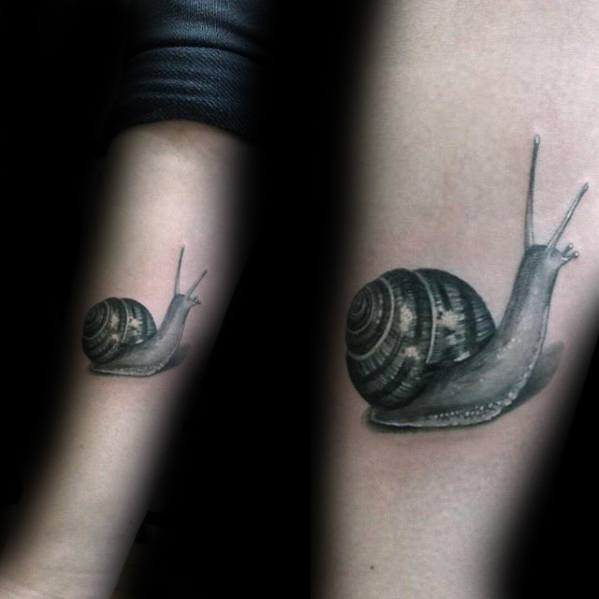 Inner Forearm Realistic Snail Tattoo Ideas On Guys