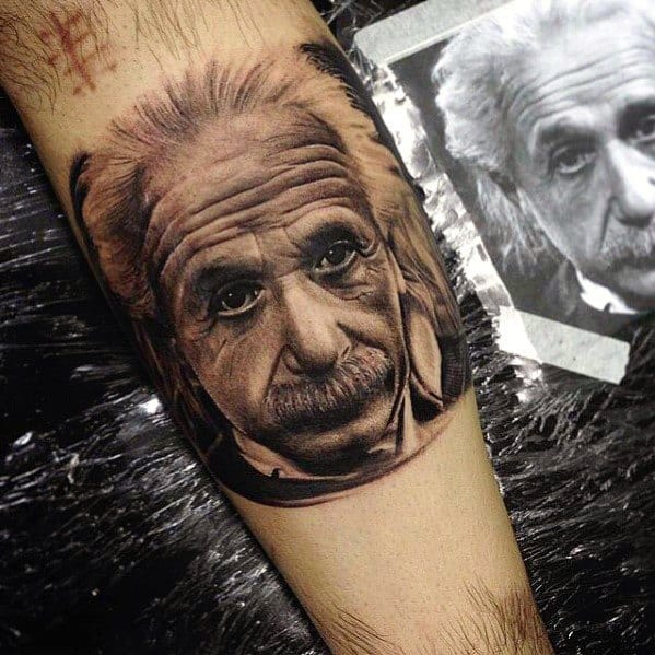 Inner Forearm Realistic Unique Mens Albert Einstein Scientist Tattoos