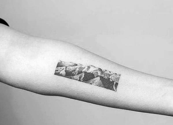 3afb9a9c8 Inner Forearm Rectangle Detailed Guys Small Nature Tattoo Ideas