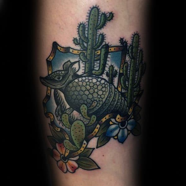 Inner Forearm Retro Armadillo Guys Tattoo Designs