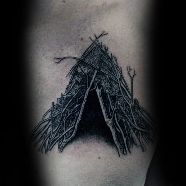Inner Forearm Rough And Spikey Sick Tent Tattoo For Men