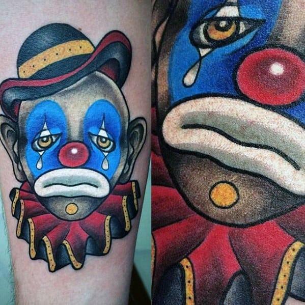 Inner Forearm Sad Clown Circus Tattoo On Men