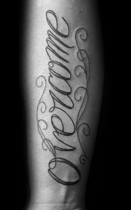 Inner Forearm Script Cool Male Overcome Tattoo Designs
