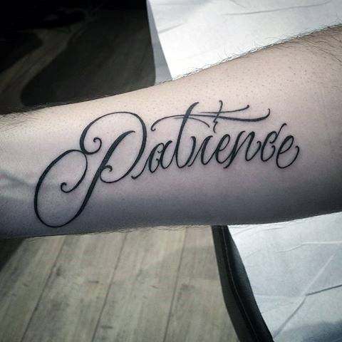Inner Forearm Script Guys Patience Tattoos