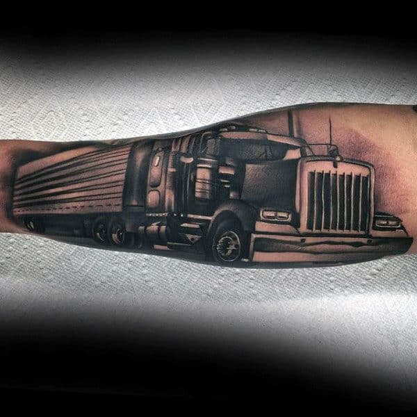 Inner Forearm Semi Truck Shaded Black And Grey Ink Tattoos For Males