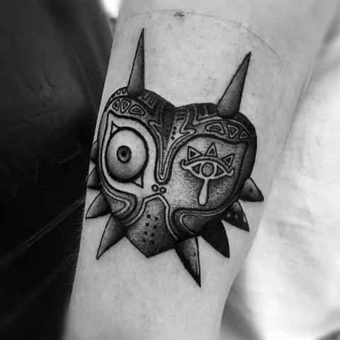 Inner Forearm Shaded Artistic Male Majoras Mask Tattoo Ideas