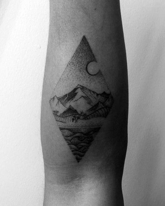 Inner Forearm Shaded Beach Guys Small Tattoo Designs