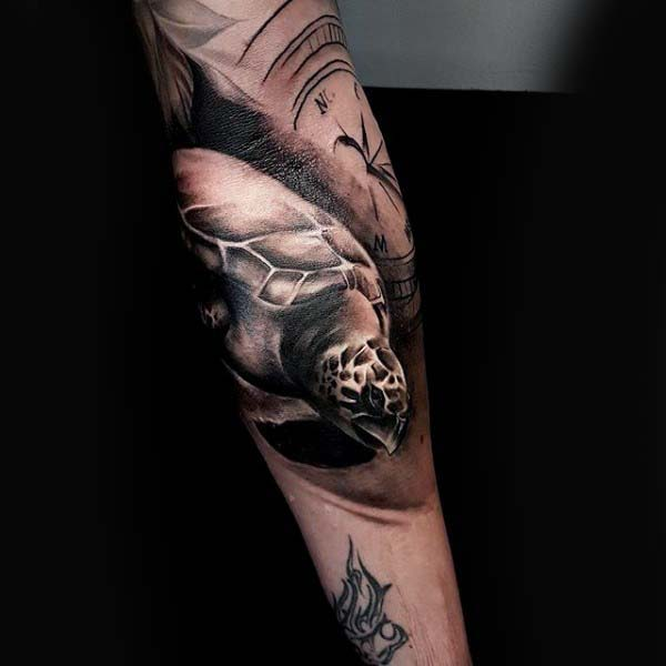 Inner Forearm Shaded Black And Grey Ink Turtle Tattoo For Men