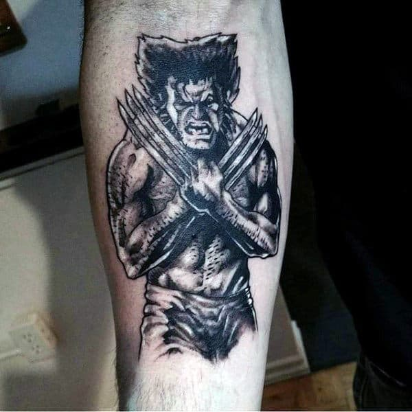 Inner Forearm Shaded Black Ink Wolverine Male Tattoos