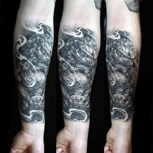 Inner Forearm Shaded Foo Dog Tattoo On Gentleman