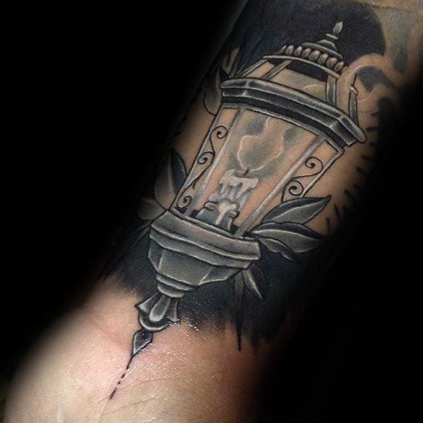 Inner Forearm Shaded Lantern Mens Tattoo Ideas