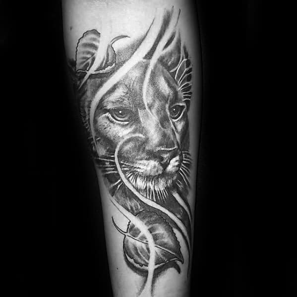 Inner Forearm Shaded Male Mountain Lion Tattoo Ideas