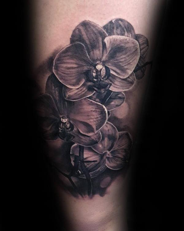 Inner Forearm Shaded Orchid Tattoo Designs For Guys
