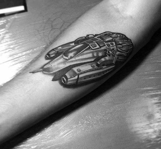 Inner Forearm Shaded Spaceship Inner Forearm Guys Tattoos