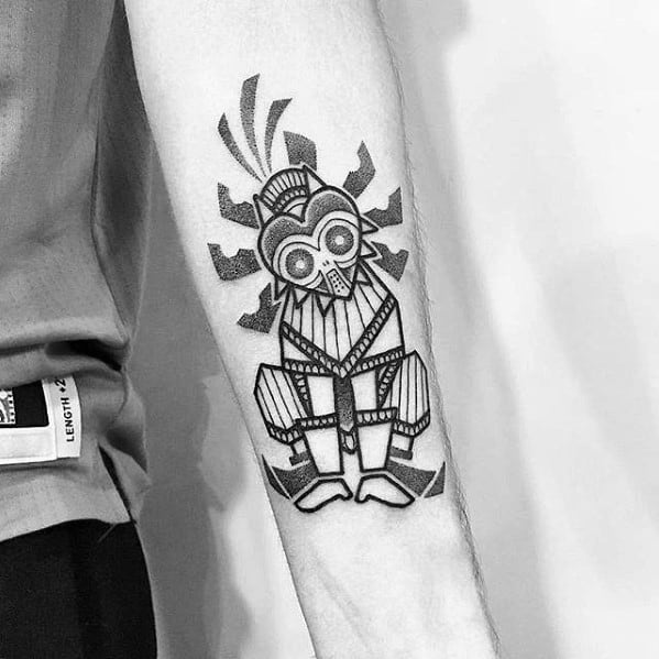 Inner Forearm Sharp Majoras Mask Male Tattoo Ideas