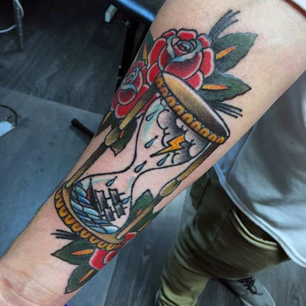 Inner Forearm Ship In Storm Traditional Hourglass Guys Tattoos