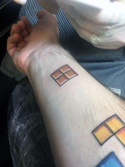 Inner Forearm Simple Tetris Male Tattoos