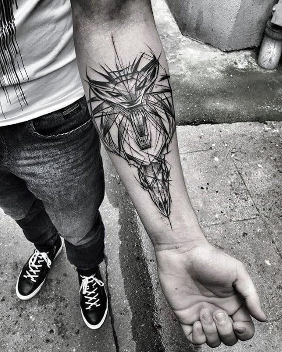 Inner Forearm Sketched Gamer Tattoo On Men