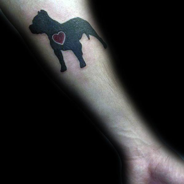 Inner Forearm Small Cool Male Pitbull Tattoo Designs