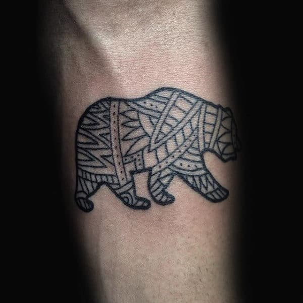 Inner Forearm Small Mens California Bear Tattoo With Black Ink Lines