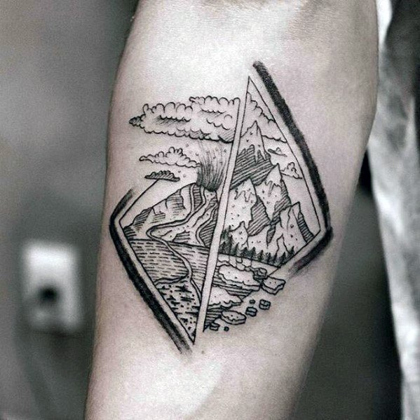 Inner Forearm Small Volcano Tattoo Ideas For Males