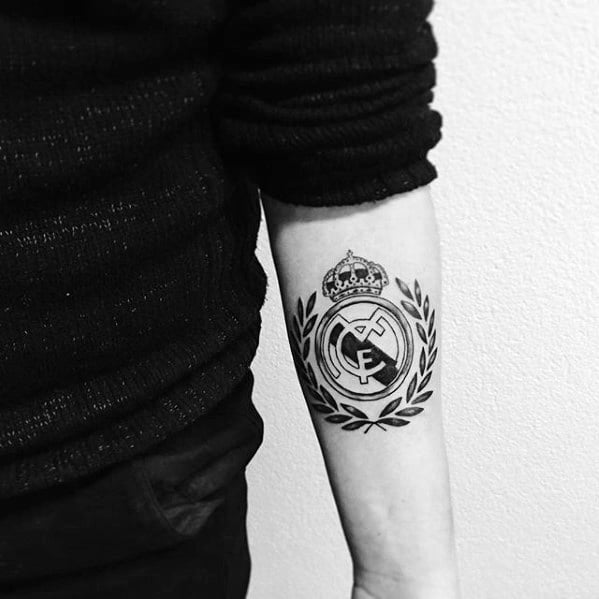 Inner Forearm Soccer Logo Real Madrid Tattoos For Gentlemen