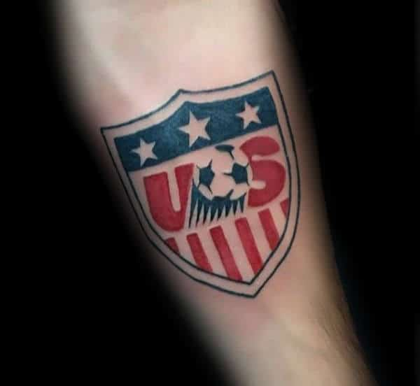 Inner Forearm Soccer Usa Logo Symbol Tattoo For Men