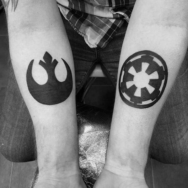 Inner Forearm Solid Black Ink Guys Rebel Alliance Tattoos