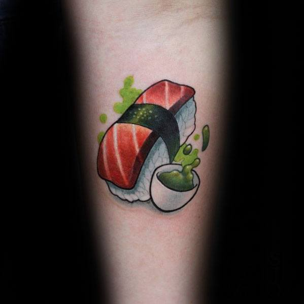 Inner Forearm Sushi Male Tattoo Designs