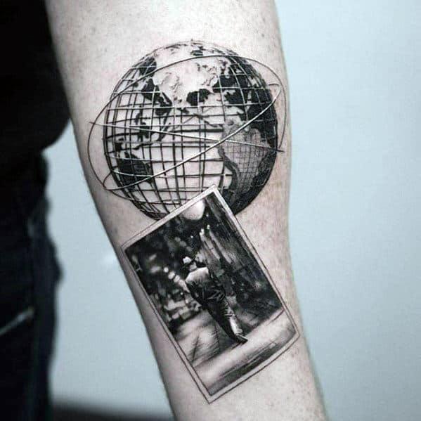 Inner Forearm Sweet Mens Globe Wth Photograph Paper Tattoo